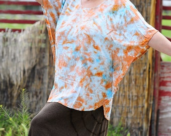 Tie Dye Loose Fitting Plus Size Top, Trippy Hippie OOAK Flowy Clothes