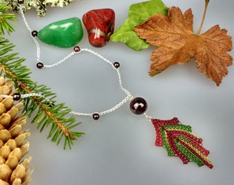 Hand Crocheted Leaf Pendant Microcrochet Necklace Garnet Sterling Silver Cotton Forest Leaves Tree Woodland Natural Nature Autumn Red Green