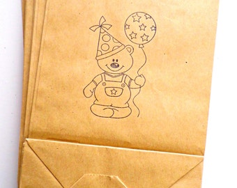 5 little paper bags for little presents, paper bags, birthday bags, kraft paper bags, handstamped bags