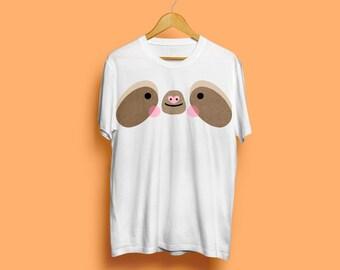 Sloth Tshirt With Tail, Sloth Face Tshirt - Cute Sloth, Funny Sloth, Sloths, Animal Tshirt, Animal Face Tshirt, Cute Tshirt, S M L XL XXL