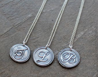 Fine Silver Wax Seal Initial Pendant - PMC Clay Handcrafted Pendant - Wax Seal Pendant - Silver Initial Pendant - Precious Metal Pendant
