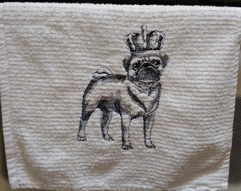 KING of the PUGS Hand Towel