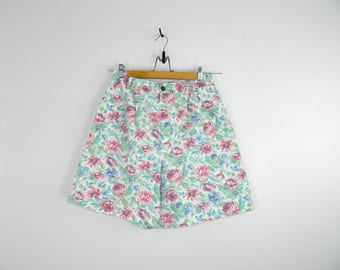 Vintage Floral Denim Shorts...