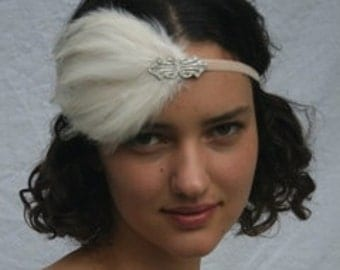 Ivory 1920s headband, silver headpiece, Art Deco flapper fascinator, feather headband, Halloween costume flapper dress silver swatovski
