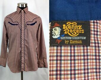 "Vintage 70s - 80s ""Kenny Rogers"" Plaid Snap-Down Western Shirt by Karman MEDIUM // Pearl Snaps // Retro // Mens // Country // Coyboy"