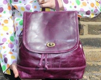 Barcelona Backpack Purple Leather