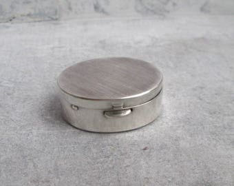 Silver plated pill box pillbox silver plated, sniffed box, pills, dose, silver plated oval,