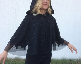 Black Hooded Cape, Sparkle Veil Cape, Black Bridal Bolero, Fleece Hooded Cape, Black Evening Cape, Black Tulle Capelet, Winter Wedding