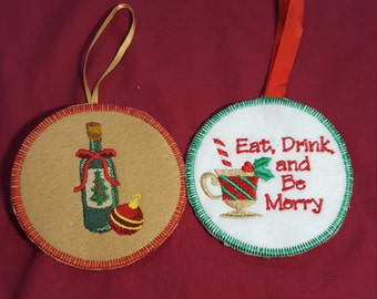 Eat, Drink, and Be Merry Christmas Ornament and Wine Ornament