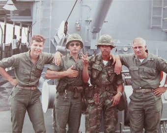 Give Peace A Chance - Vietnam War Era 1972 American Battleship Crew Flashing Peace Sign Color Snapshot Photo - Free Shipping