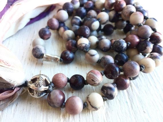 108 Matte Porcelain Jasper Mala Beads healing meditation prayer beads Boho yoga stress relief Thai Silver Silk Sari Tassel Necklace