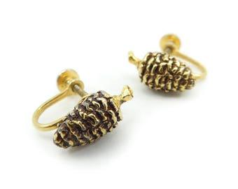 Vintage Pine Cone Earrings, Gold Tone, Screw Backs