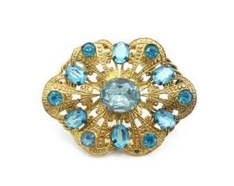 Vintage Czech Rhinestone Brooch, Blue Rhinestones, Filigree, Gold Tone, Marked Czecho