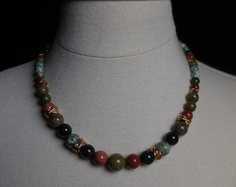 Green Multistone Necklace with Goldstone and Golden Accents