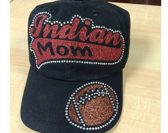 Indian Football Mom Cap, Indian Football Mom rhinestone Hat, Indian Football Hat
