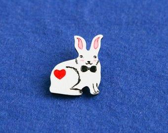 White rabbit hare wood painted brooch badge Alice in wonderland children