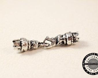 Sterling Silver Snake End Tip Clasp for Leather Bracelets (1648)