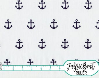 NAVY ANCHOR Fabric by the Yard, Fat Quarter Nautical Anchors on White Fabric Quilting Fabric 100% Cotton Fabric Apparel Fabric a5-33