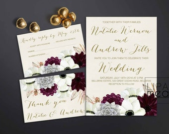 Printable Wedding Invitation, Floral Wedding Invitation, Anemone U0026  Succulent Wedding Invitation, Gold Burgundy