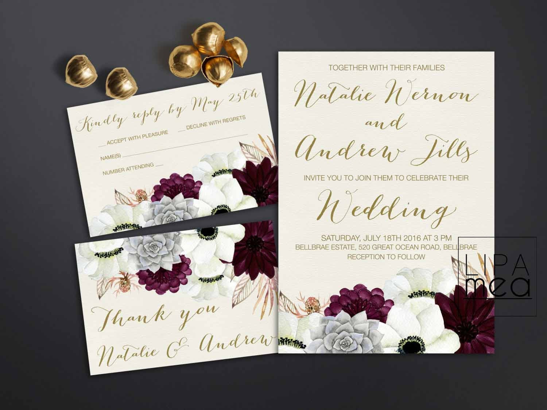 One Page Wedding Invitations: Printable Wedding Invitation Floral Wedding Invitation