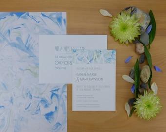 Blue Marbled Monogram Wedding Invitation