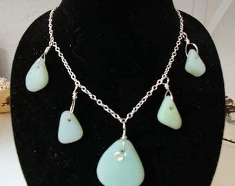 JADE-ITE seaglass necklace wrapped in sterling silver on sterling silver chain