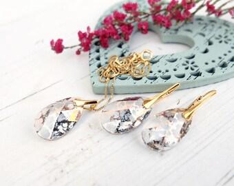 Swarovski teardrop crystal bridesmaids earrings necklace set Bridal wedding jewellery 24k gold plated earrings Clear crystal drop earrings