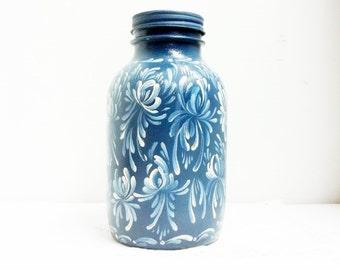 Glass, Storage Jar, Storage Canister, Hand Painted, Scandinavian, Rosemaling, Swedish, Norwegian, Folk Art, Decorative Jar, Kitchen Decor.