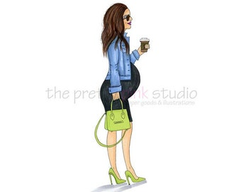 Mom to be illustration, Mom to be art, Pregnancy illustration, Fashion illustration, Baby bump art print, Fashion art, Fashion wall art