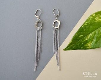 Chain statement earrings, silver cascade earrings, stainless steel chain drop pendant, wedding silver chain earring