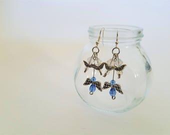 Handmade Blue, Clear, and Silver Dangle Earrings