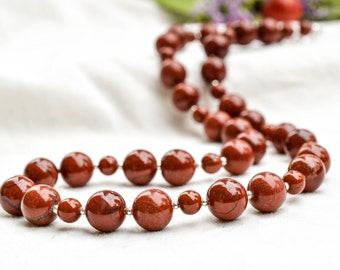 Red Jasper Necklace With 925 sterling silver  *Free worldwide shipping*