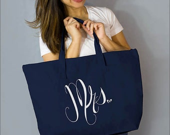 "Navy Mrs. Large Zip Tote: 100%  Natural Cotton Canvas 22""W x 15""L x 5""D with Interior Zippered Pocket- Ellafly"
