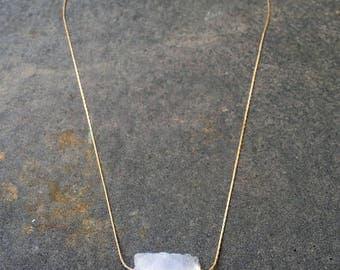 Quartz Necklace, Simple Crystal Necklace, Gold Crystal Quartz Necklace, Minimalist Crystal Necklace, Crystal Pendant Necklace, Boho Necklace