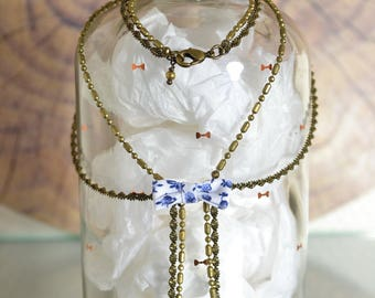 Miss Liberty fabric and brass necklace