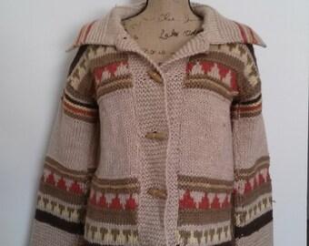 Vintage Hand Knit Western Sweater
