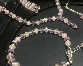 Rose Quartz, Rose Quartz Necklace, Rose Quartz Jewelry Set, Pink Crystal Bracelet, Pink Gemstone Necklace, 3 Piece Set, Pink Gemstone, Gifts