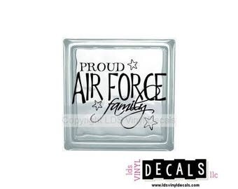 PROUD Air Force Family - Patriotic and Military Vinyl Lettering for Glass Blocks - USA Car Decals