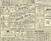 Vintage Travel Fabric, Train Travel, Newsprint Ads - Time Travelers Memoir - Iron Orchid for Clothworks - Y 2079 58 Cream - Half Yd Price