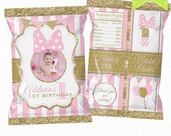 """Minnie Mouse Treat Bag Printable, Candy Bag, Chip Bag, Party Bags   Style 14   Pink and Gold Any Age    4.5"""" x 7""""- YOU PRINT"""
