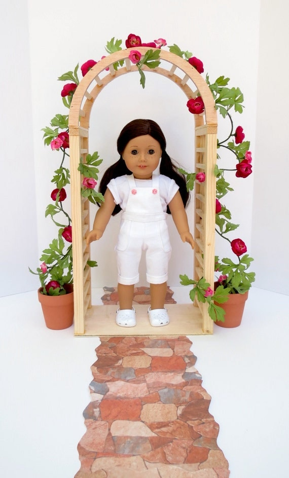 Doll FLOWER ARBOR Handcrafted for 18 Inch dolls such as American Girl®  Arbor, Vine of Flowers, Terra Cotta Pots