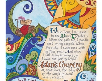 The Voyage of the Dawn Treader Narnia art print / hand lettered C. S. Lewis quote / Reepicheep / Aslan / home decor/ kids