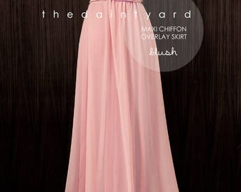 Chiffon Overlay Skirt in Blush for Maxi Long Convertible Dress / Infinity Dress / Wrap Dress / Octopus Dress