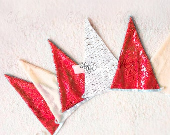 Sparkly Red Ivory White Sequin Pennant Banner. Garland for Christmas Wedding Bridal Shower Ceremony Aisle Pew Decorations Photography Prop