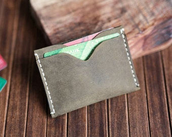 Wallet, Minimalist Wallet, Khaki Card holder, Gift Leather Wallet, Mens Leather Wallet, Mens Wallets, Groomsmen Gifts, Slim Wallets