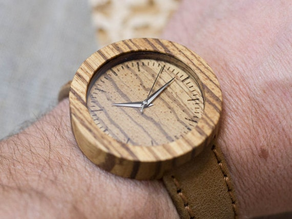 African Zebrano minimal wood watch , Majestic Watch, sand  Genuine Leather strap + Any Engraving / Rady Gift Box. Anniversary  gift