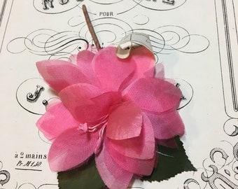 Vintage millinery pink flower