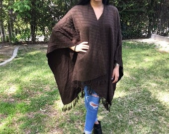Brown Knit Shawl,Large, Fringed Wrap