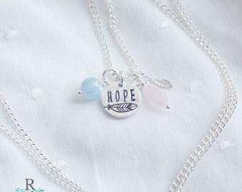 Fertility Necklace - Aquamarine and Rose Quartz Gemstone Necklace  - TTC Necklace - Gift for New Mom - Healing Crystals - Healing Gemstone