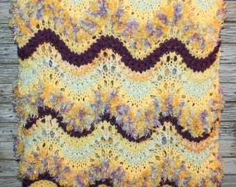 Handmade Hand Knit Blanket Afghan Throw Yellow Purple Mint Green Hippie Bohemian Home Decor Gift Idea